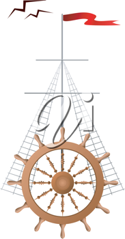 Royalty Free Clipart Image of a Wheel of a Ship With a Red Flag and Birds Flying Above