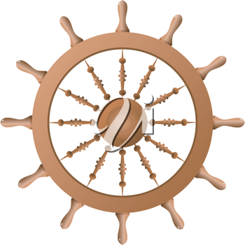 Royalty Free Clipart Image of a Ship Wheel on a White Background