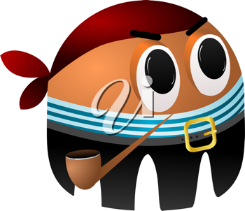 Royalty Free Clipart Image of a Cartoon Pirate with a Tobacco Pipe