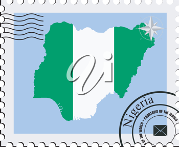 Royalty Free Clipart Image of a Perforated Stamp With a Silhouette and Seal of Nigeria