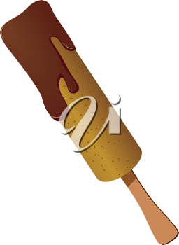 Royalty Free Clipart Image of an Ice Cream cCvered in Melting Chocolate