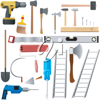 Royalty Free Clipart Image of a Yard and Shop Tools
