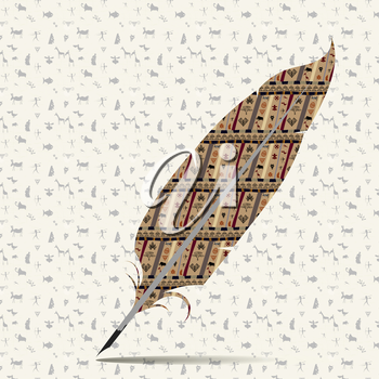 Abstract image of a quill pen with seamless textures
