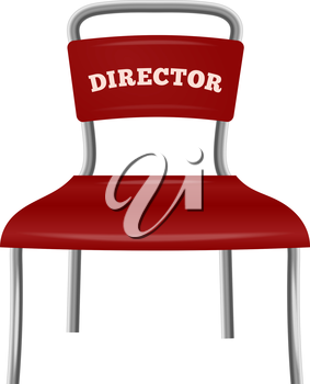 Chrome colored metal chair director