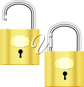 Vector illustration of open and closed yellow padlocks