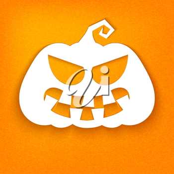 Halloween. White silhouette of a pumpkin with a sinister facial expressions on an orange background. Vector illustration.