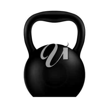 Kettlebell black isolated on a white background. Vector illustration.