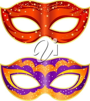 Two bright fancy mask on a white background. Isolate. Vector illustration