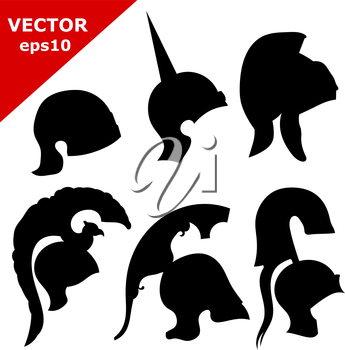 Set of silhouettes of ancient helmets. Vector illustration