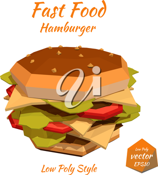 Fast food: big cheeseburger, big hamburger with cutlet, cheese and tomato isolated on white background. Low poly style. Design your menu diner bistro. Vector illustration.