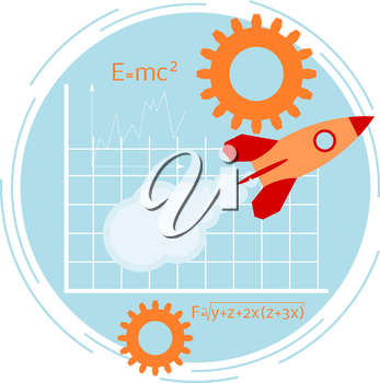 Banner with rocket. Startup. Flat style. Vector illustration.
