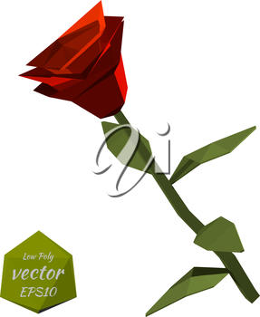 Red Rose in the style of low poly. Vector illustration.