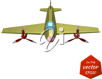 Plane on a white background. The twin-engine fighter. Vintage. Vector illustration.