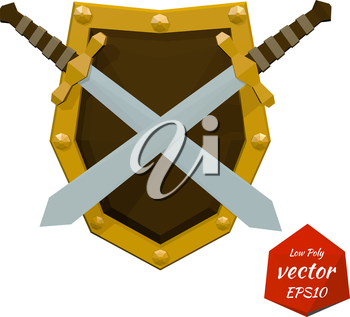 Low poly shield and swords on white background. Vector illustration