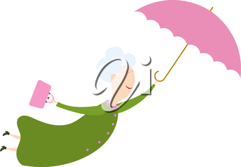 Flying woman with the umbrella. An elderly woman with an umbrella on a white  background. Funny old woman flying through the sky with an umbrella. Kind fairy. Stock  vector