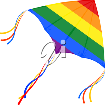 Vector kite flying on a white background. Illustration Kite with gay flag. Sign of homosexual communities. Stock vector