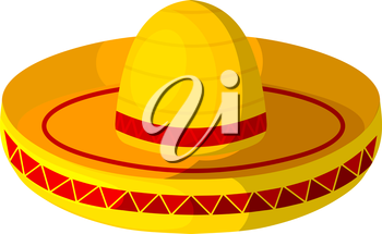 Colored Cartoon sombrero on a white background. Isolate. Wide-brimmed hat - element of the national Mexican clothing. Stock vector
