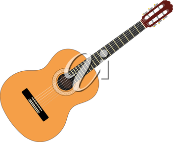 Musical instrument - acoustic guitar with strings on a white background. Isolated object. Stock vector illustration