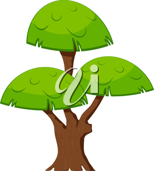 Cartoon green tree on a white background. Flora element. Abstract tree with stylized foliage. 