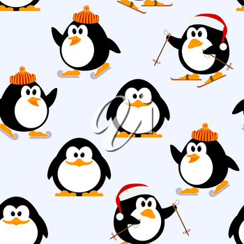 Vector seamless pattern with young penguins playing. Penguins skating, skiing. Winter Games. Illustration of Kids Penguin winter