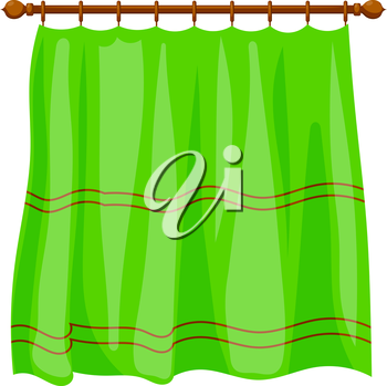 Vector illustration of abstract Cartoon green curtains on the ledge on a white background. Isolated household furnishings. Green portiere, Cartoon style