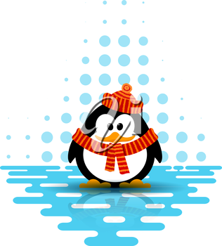 Vector illustration of a cute little penguin wearing a hat and a scarf on an abstract background. Cartoon style