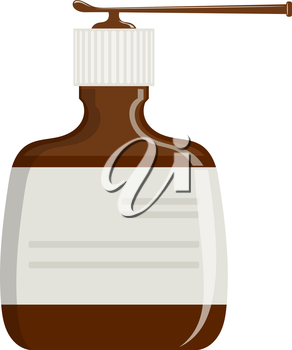 Cartoon drawing of a simple plastic bottle with spray. Medical drug for treating throat. Cartoon vector illustration