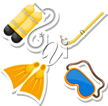 Set items diver cut from paper. Vector accessories dayviga in Cartoon style on a white 