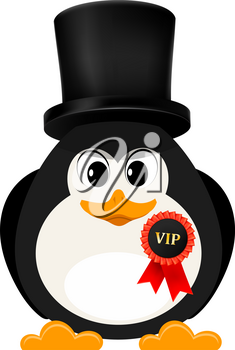 Abstract penguin is free of charge with a badge and a high cylinder. Concept of a 