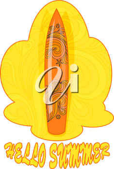 Color image of a yellow surfboard on a yellow background. Vector illustration of the symbol of surfing with doodle elements in the design.