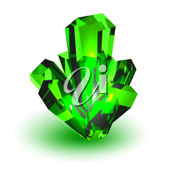 Green crystal. Realistic volumetric crystal on a white background. Vector illustration of an element of nature