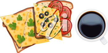 Set of food for breakfast. Two sandwiches with a cup of coffee on a white background. Vector illustration of toasts with cheese, tomatoes, eggs, dill, olives, white cup with black coffee