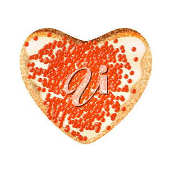 Sandwich with caviar in the shape of a heart on a white background. Vector illustration of a toast with salmon caviar.