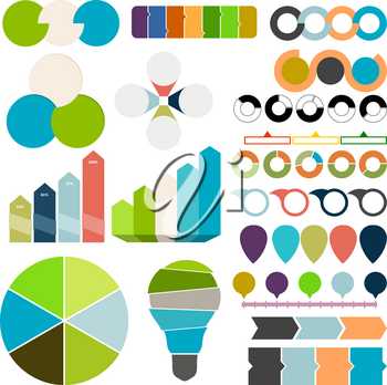 Set of charts and graphs for business. Design elements on a white background. Vector illustration