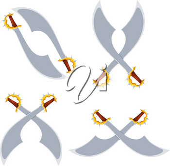 Set of crossed pirate sabers in a cardboard style on a white background. Isolated object. Vector illustration