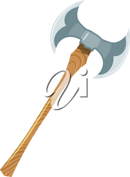 Color image of a viking ax on a white background. Vector illustration of a two-handed Viking ax in Cartoon style