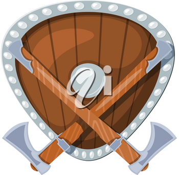 Colored illustration of two battle Scandinavian axes against the background of a shield. Vector image of Viking axes and shield in cartoon style