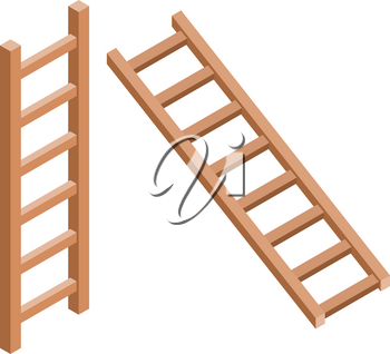Set of brown stairs on a white background. Wooden stairs in trendy style isometric, tools for housework, in the garden and in the workplace. Vector illustration