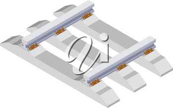 Color image rail and sleepers on a white background. Railway in isometric style. Trend Vector illustration
