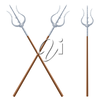 Two crossed fantastic tridents on a white background. Vector illustration of edged fairytale weapons