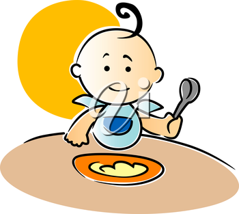 Cute little baby wearing a blue bib with a curl on top of its head sitting eating its food holding a spoon in its fist, vector illustration