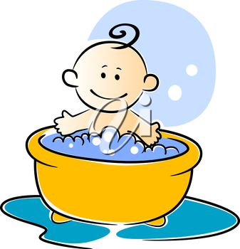 Happy little baby having a bath sitting smiling in a tub of soapy water, vector illustration