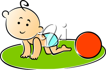 Little baby crawling on hands and knees playing with a red ball on the grass, cartoon vector illustration