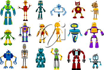 Cyborgs, robots and aliens set in cartoon style isolated on white