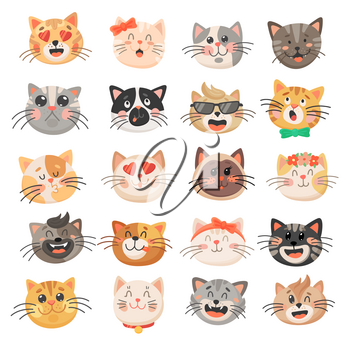 Cat heads with cute faces, vector kitten emoticons. Funny kitty pet animal cartoon characters with different emotions and facial expressions, happy, sad, crazy, girly and loving emoji