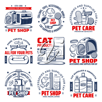 Pet shop isolated vector icons with cat care supplies. Cat animal food, grooming accessory and toy, stand house, feeding bowl, carrier, collar and leash, scratching post and shampoo emblems design