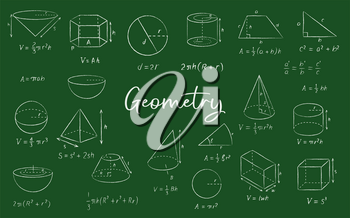 Geometric shape chalk sketches on blackboard, vector education and back to school background. Math formulas, equation, diagrams and proof, circles, squares, spheres and triangles on chalkboard