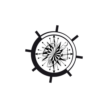 Marine compass in shape of steering wheel isolated orientation and navigation instrument. Vector nautical circle with poles showing sailing direction, dial with world sides, monochrome wind rose