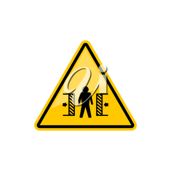 Warning crushing sign isolated attention crush yellow triangle with person, Vector caution information, danger of crashing in machine. Danger of injury triangular symbol, warning accident alert