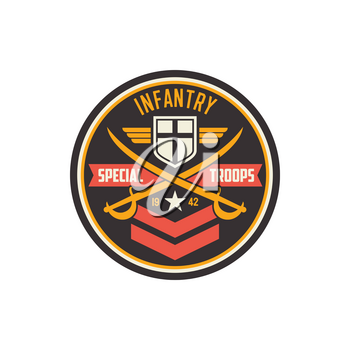 Infantry special troops military chevron with crossed swords, flag emblem and army insignia. Vector squad with crossed swords, military sub-subunit, trooper badge emblem. US army mascot with star